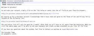 GRAVATAR подтверждение email
