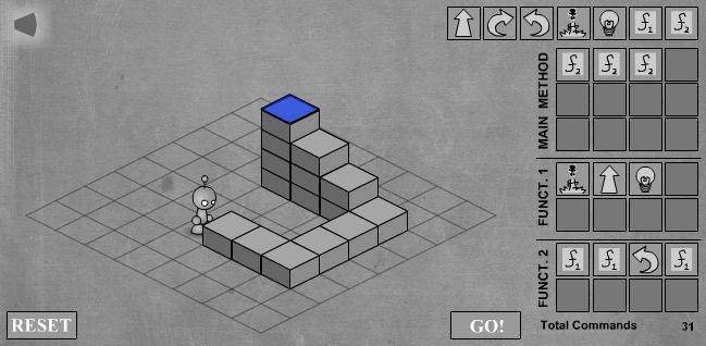 LightBot - скриншот прохождения пятого уровня